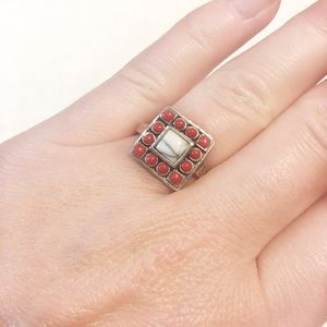 Jewelry - Coral and White Jasper Statement Ring